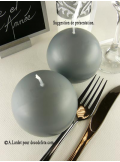 1 Bougie boule 8 cm anthracite