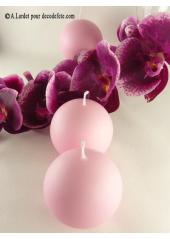 1 Bougie boule 8 cm rose