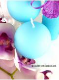 1 Bougie boule 8 cm turquoise