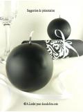 1 Bougie boule 8 cm noir