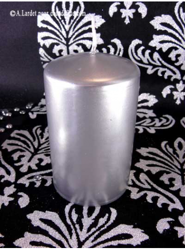 1 Bougie cylindre 10 cm argent