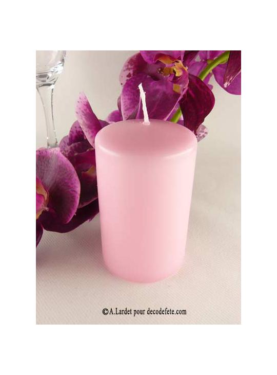 1 bougie cylindre rose 10cm bougie cylindrique rose. Black Bedroom Furniture Sets. Home Design Ideas