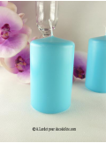 1 Bougie cylindre 10 cm turquoise