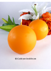 1 Bougie boule 8 cm orange mandarine