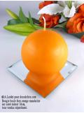 1 Bougie boule 8 cm orange mandarine
