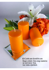 1 Bougie cylindre 10 cm orange mandarine