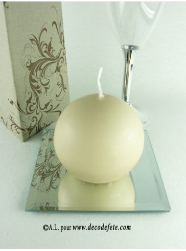 1 Bougie boule 8 cm taupe