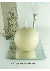 1 Bougie boule 8 cm caramel (taupe)
