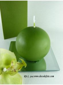 1 Bougie boule 8 cm vert sapin