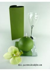 1 Bougie boule 8 cm vert mousse