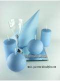 1 Bougie cylindre 10 cm bleu ciel