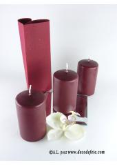 1 Bougie cylindre 10 cm bordeaux