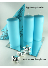 1 Bougie cylindre 15 cm turquoise
