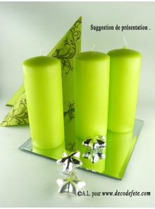 1 Bougie cylindre 15 cm vert anis
