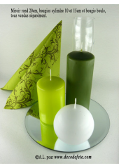 1 Bougie cylindre 15 cm vert mousse