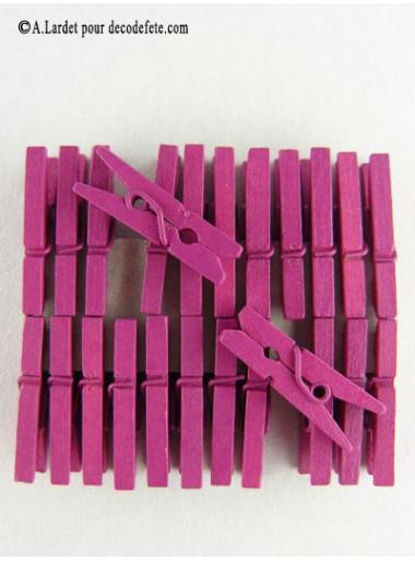 24 Pinces à linge fushia
