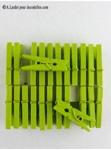 24 Pinces à linge vert anis