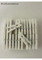 24 Pinces à linge blanc