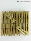 24 Pinces à linge or