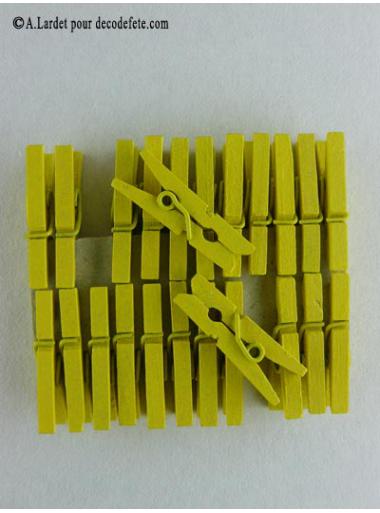 24 Pinces à linge jaune