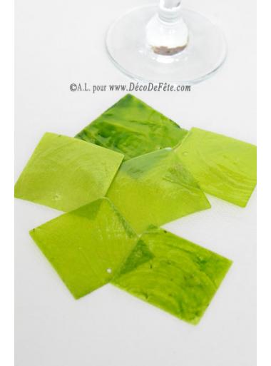 6 NACRES carrées vert anis