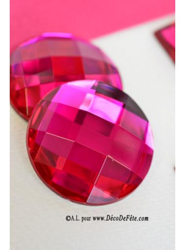 6 diamants ronds fushia