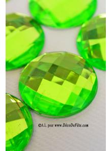6 diamants ronds vert anis