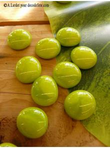 250G Bille de verre opale vert anis