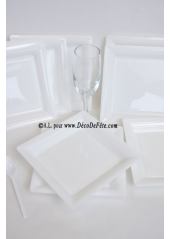12 Assiettes à dessert plastique carré blanc
