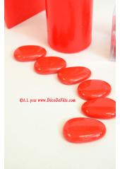 12 Galets de verre rouge