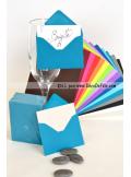 50 Mini Enveloppe bleu lagon