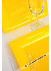 12 Assiettes jaune carré 23.5 cm