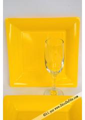 12 Assiettes jaune carré 24cm