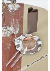 1 Nappe presto ronde jetable caramel