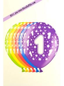 6 BALLONS chiffre 1