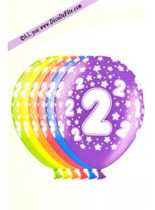 6 BALLONS chiffre 2
