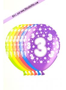 6 BALLONS chiffre 3
