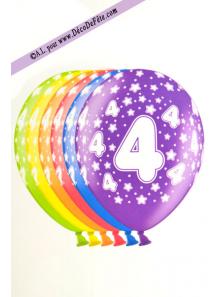 6 BALLONS chiffre 4