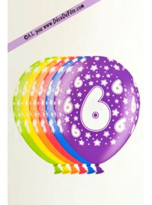 6 BALLONS chiffre 6