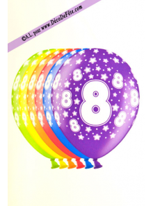 6 BALLONS chiffre 8