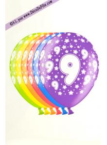 6 BALLONS chiffre 9