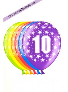 6 BALLONS chiffre 10