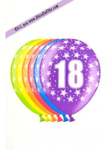 6 BALLONS chiffre 18