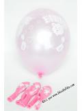 6 ballons FILLE rose nacré