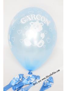 6 ballons GARCON bleu ciel nacré
