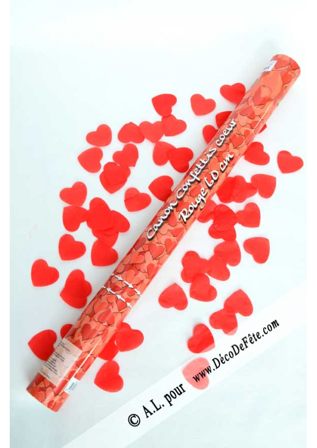 1 canon confettis coeur rouge 60cm - Canon A Confetti Mariage
