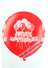 1 ballon géant joyeux anniversaire rouge