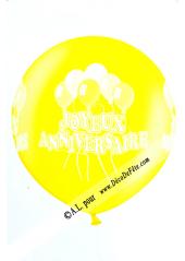 1 ballon géant joyeux anniversaire jaune