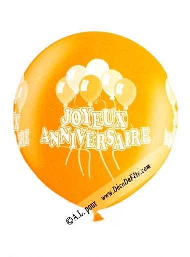 1 ballon géant joyeux anniversaire orange