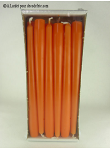 12 Bougies flambeau orange mandarine